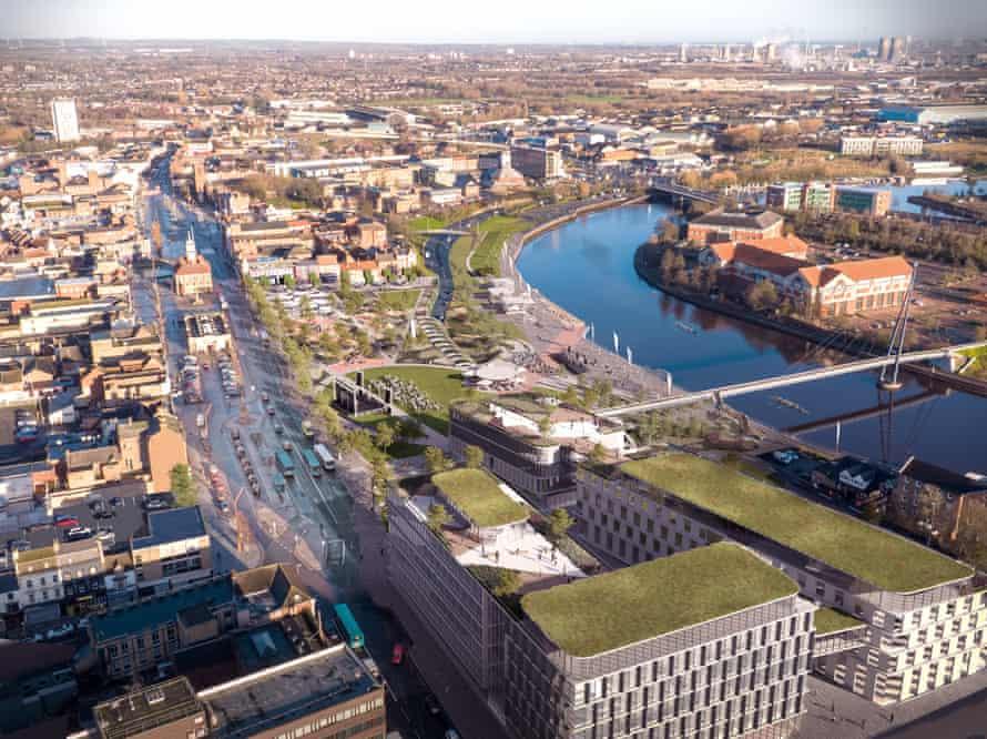 CGI of Stockton-on-Tees' green spaces plan.