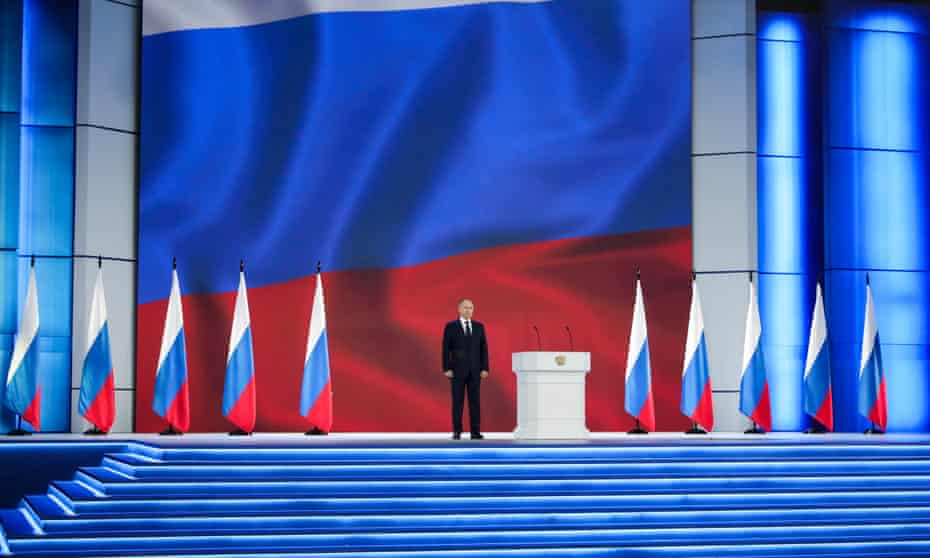 Vladimir Putin delivers his annual address at Moscow's Manezh Central Exhibition Hall on Wednesday.