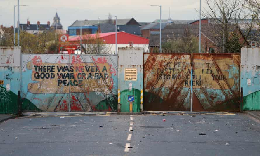 Lanark Way peace gates, which divide the nationalist Catholic Springfield Road from the Protestant Shankill Road.