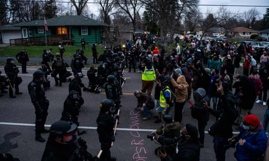 Protesters face off with police in Brooklyn Center, Minnesota.