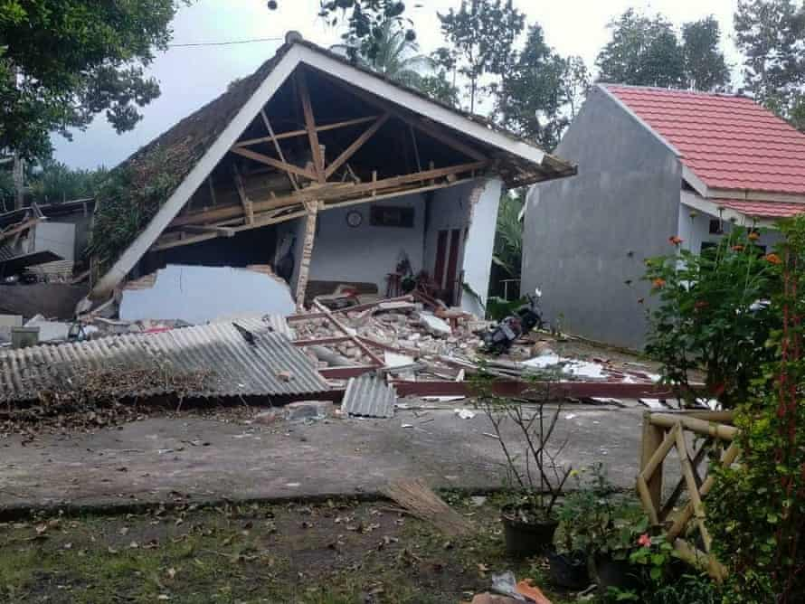 A collapsed house following the quake