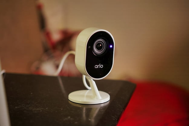 Arlo Essential Indoor Security Camera on table