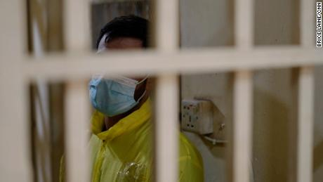 Khaled is pictured in a prison cell in western Baghdad, and one is serving a sentence for crystal meth.