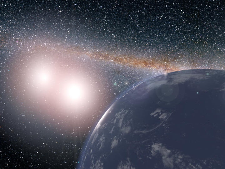 This artist's concept shows a hypothetical planet covered in water around the binary star system of Kepler-35A and B.