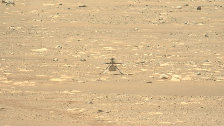 NASA's Mars Perseverance rover acquired this image of the Ingenuity Mars Helicopter using its Left Mastcam-Z camera, on Apr. 16, 2021 (Sol 55).