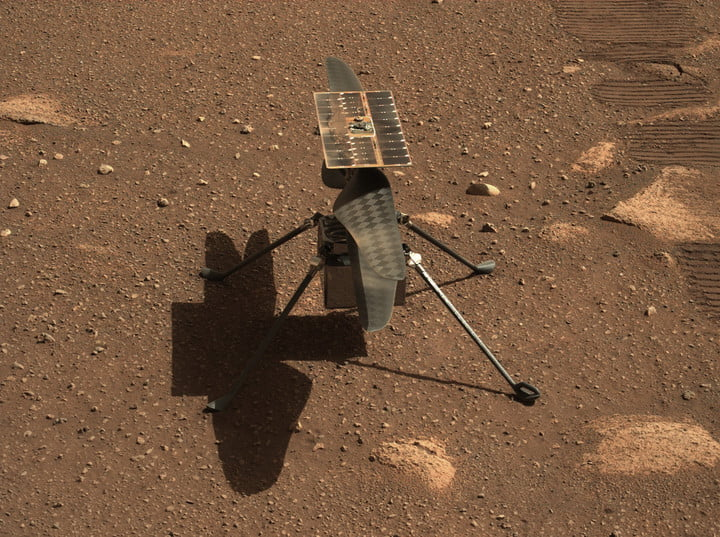 NASA's Ingenuity Mars helicopter is seen in a close-up taken by Mastcam-Z, a pair of zoomable cameras aboard the Perseverance rover. This image was taken on April 5, 2021, the 45th Martian day, or sol, of the mission.