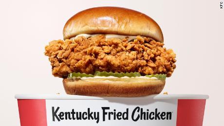KFC chicken sandwich with new people.