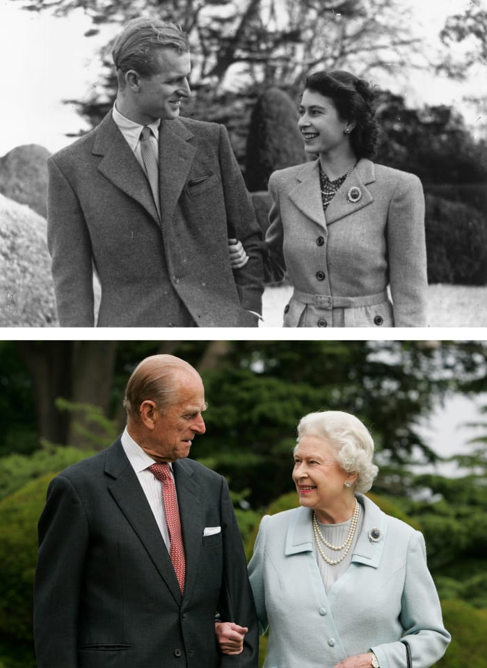 Queen Elizabeth II and Prince Philip, The Duke of Edinburgh, seen on their honeymoon (top) in Broadlands, Romsey, Hampshire in 1947 and the same location (bottom) on their 60th wedding anniversary.