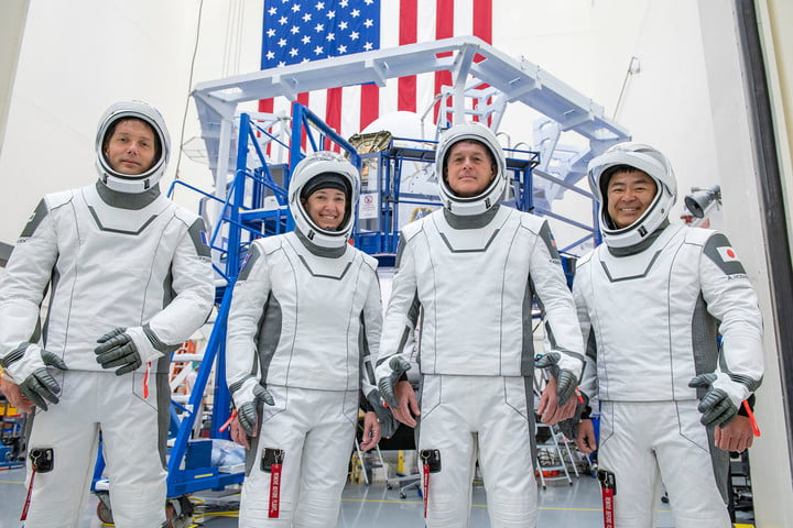 The crew for the second long-duration SpaceX Crew Dragon mission to the International Space Station, NASA's SpaceX Crew-2, are pictured during a training session at the SpaceX training facility in Hawthorne, California. From left are, Mission Specialist Thomas Pesquet of the (ESA (European Space Agency); Pilot Megan McArthur of NASA; Commander Shane Kimbrough of NASA; and Mission Specialist Akihiko Hoshide of the Japan Aerospace Exploration Agency.
