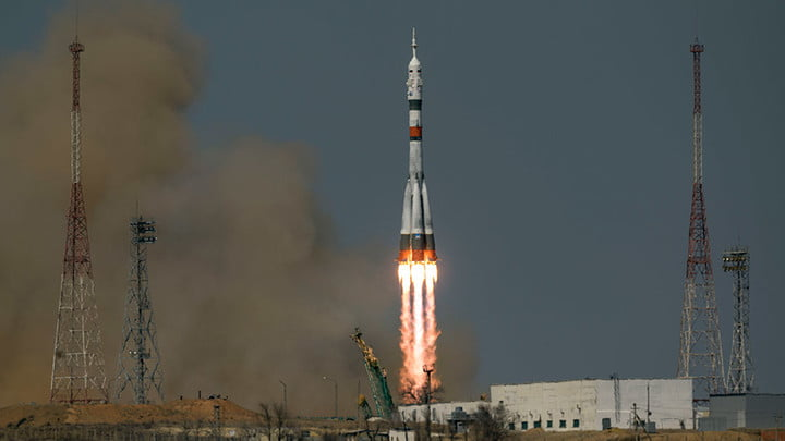 The Soyuz MS-18 rocket blasts off from the Baikonur Cosmodrome in Kazakhstan carrying three Expedition 65 crew members to the space station.