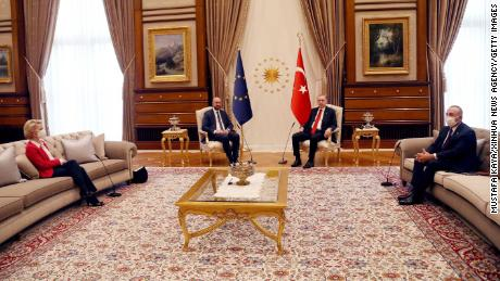 The European Union & # 39;  Erdogan's two presidents met in Ankara, Turkey, April 6.