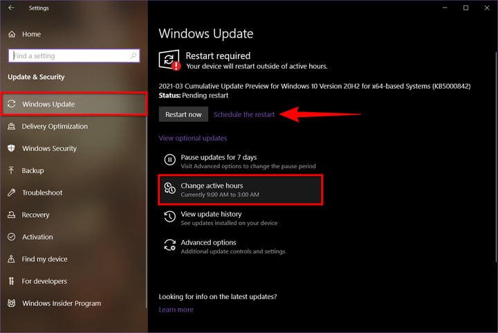Windows 10 Select Change Active Hours