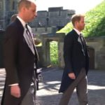 Prince William and Prince Harry walk in Prince Philip's funeral procession