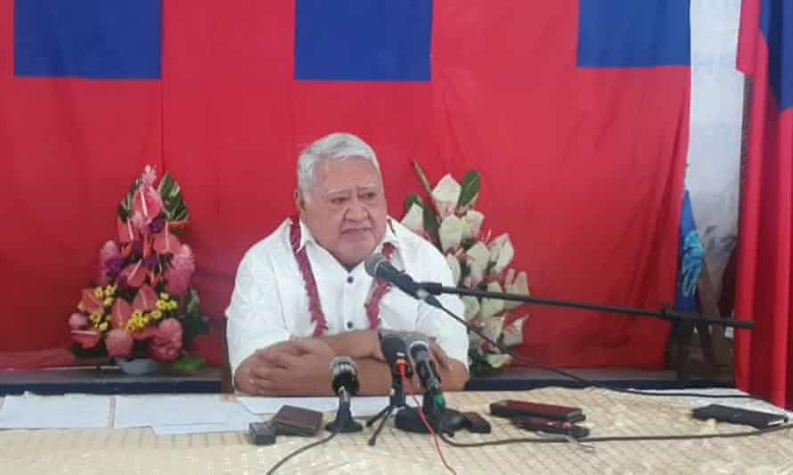 Tuilaepa Sailele Malielegaoi, who has been prime minister of Samoa for more than 22 years, refused to concede defeat on Monday and accused FAST MPs who arrived for a sitting of parliament of 'breaking and entering'.