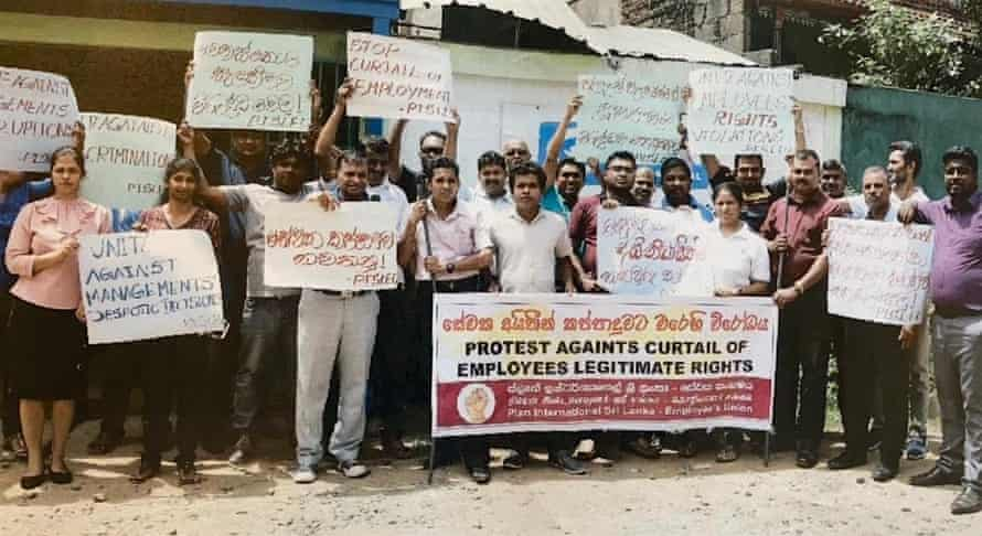 Plan International Sri Lanka staff protest against the charity's sudden departure from the country.