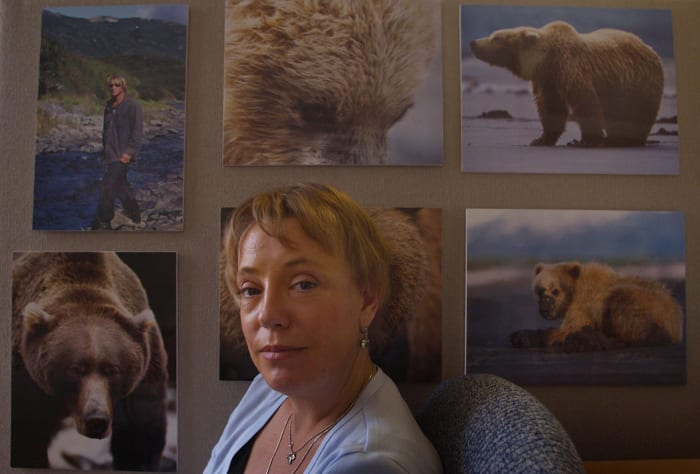 Jewel Palovak, co-founder of grassroots organization Grizzly People, pictured in her Santa Monica office.  The organization's other co-founder, Timothy Treadwell, was mutilated to death in October 2003 by a grizzly bear with his girlfriend.