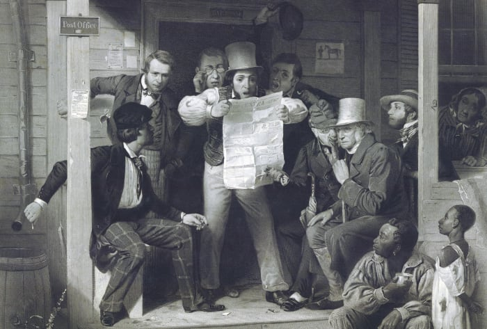 A group of Americans hearing news about the Mexican-American war.