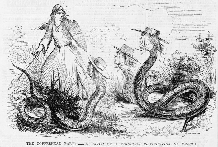Political cartoon depicting allegorical figures of the Union and the Copperheads.