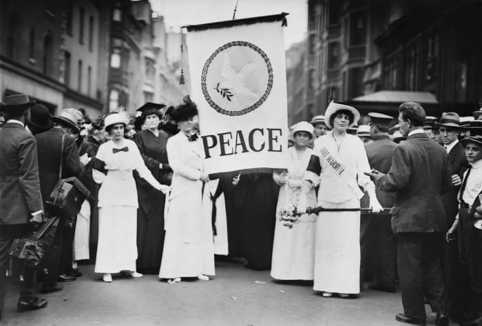 Chief Marshall Portia Willis and other participants of the Women's Peace Parade, which took place shortly after start of World War I, on Fifth Avenue in New York City, August 29, 1914.