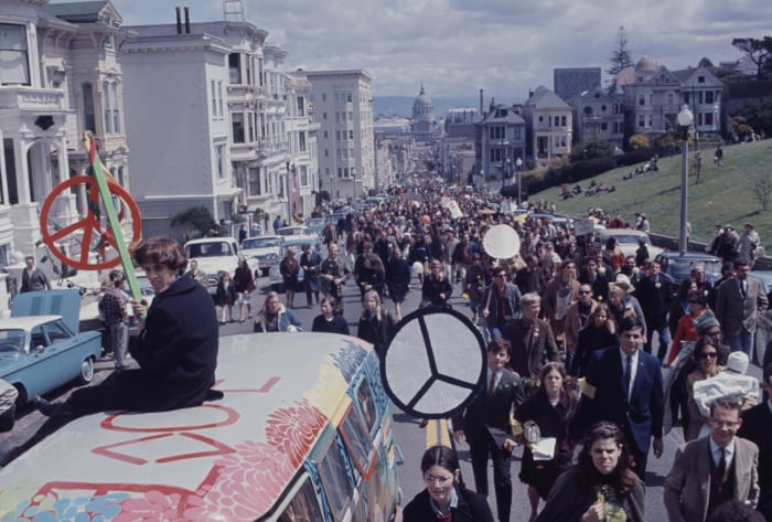 Vietnam protesters carrying anti-war signs in San Francisco, California, 1967