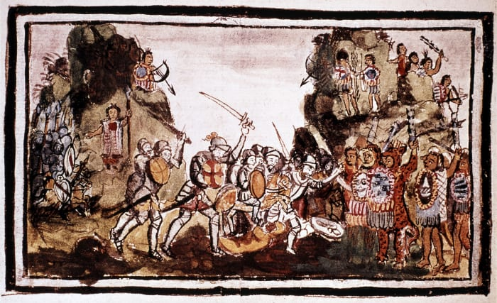 Hernándo Cortés attacks indigenous forces in Mexico.