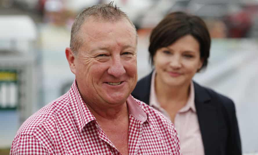 Labor candidate for Upper Hunter Jeff Drayton speaks to the media after casting his vote in Muswellbrook on Saturday.