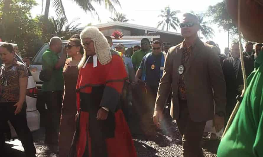 Samoa's chief justice and commissioner of police and judiciary were denied entry to Parliament House on Monday when they arrived for the swearing-in ceremony.