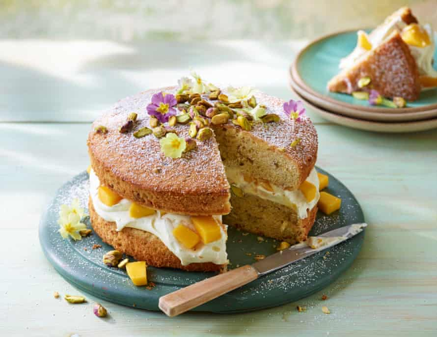 Yoghurt, almond and honey cake Jeremy Lee OFM Easy Baking Supplement Photography and prop styling: Kate Whitaker Food styling: Jules Mercer