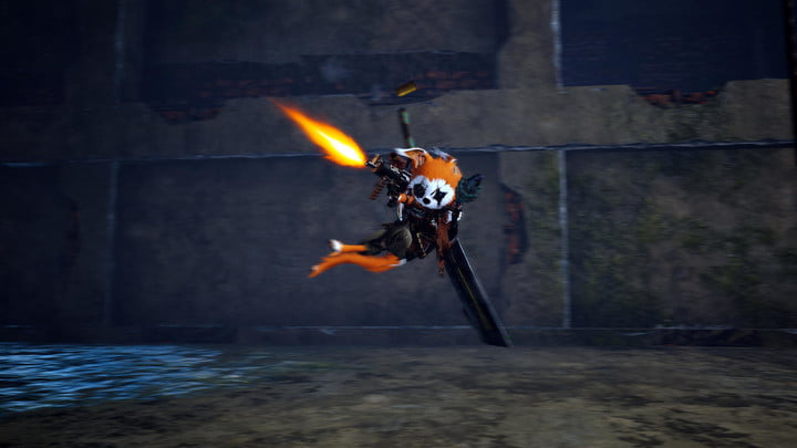 A character jumps and shoots a gun in Biomutant.
