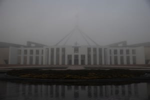 A heavy fog settled over Parliament House in Canberra this morning. Tuesday 25th May 2021.