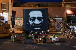 Offerings are left at George Floyd Square in Minneapolis, Minnesota, on Friday.