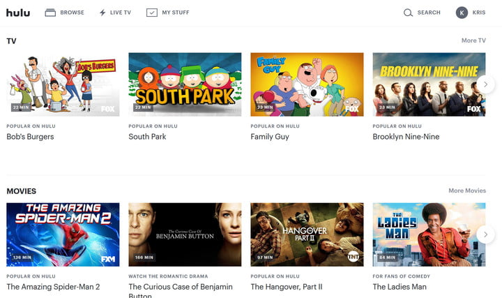 The Hulu interface offers a wide selection of television series and movies.