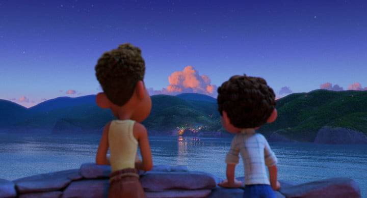 Alberto and Luca looking across the water at the town in Pixar's Luca.