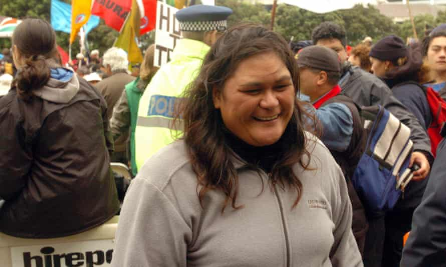 Nanaia Mahuta at the hikoi for the foreshore and seabed in the grounds at parliament in Wellington in 2004