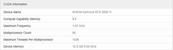 Specs for Geekbench 5 result of Nvidia RTX 3080 Ti