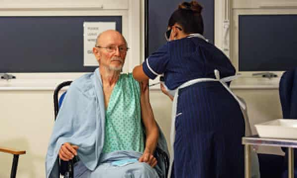 William 'Bill' Shakespeare, no relation, receives the Pfizer/BioNTech vaccine at University hospital, Coventry. He has died of an unrelated illness.