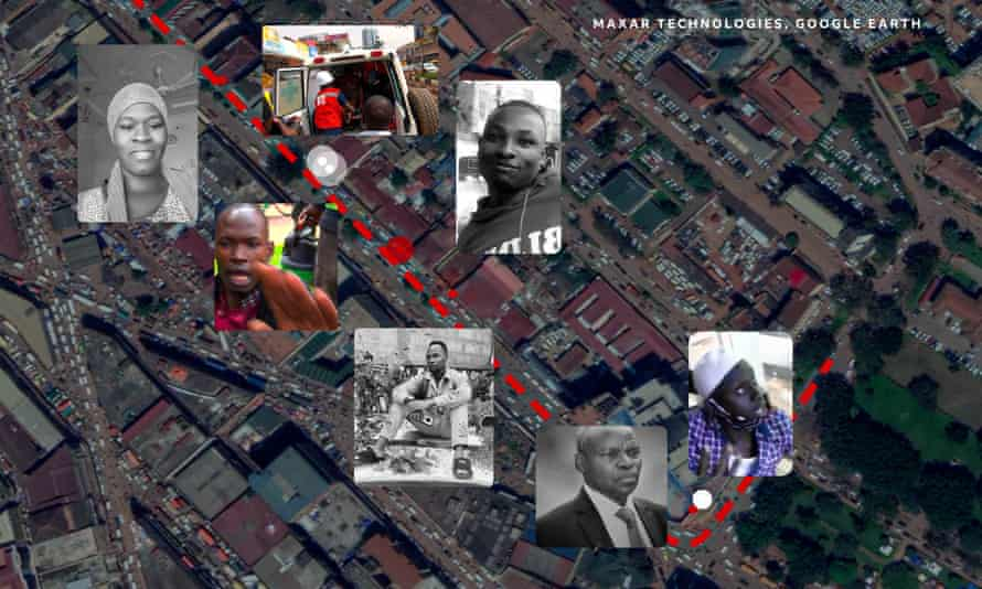 The locations of the shootings positioned on a satellite image of Kampala.