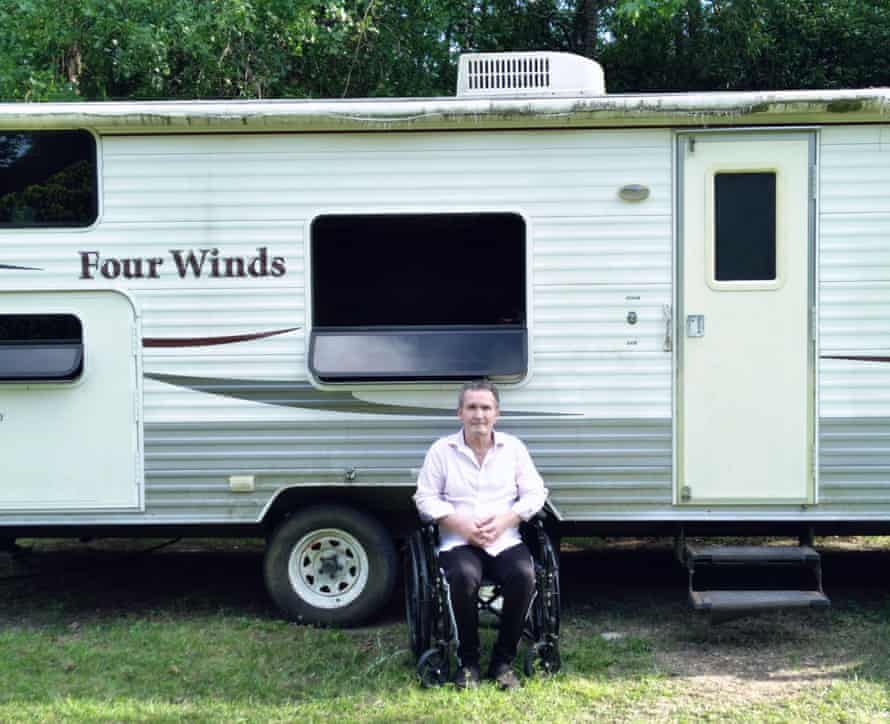 'We're penniless,' says Andre Rivenell, who along with his wife has been forced to live in a campervan in his mother-in-law's backyard in Texas.