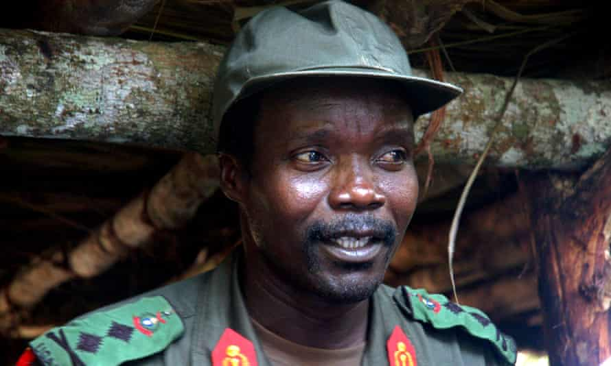 Joseph Kony at a meeting with a delegation of Ugandan officials and NGO representatives in 2006 in  the Democratic Republic of Congo near the Sudanese border.