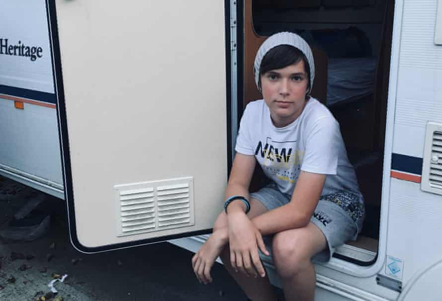 13-year-old Keagan Vowels spent months living in a camper van with his siblings and parents in his cousins front yard in Crawley, England.
