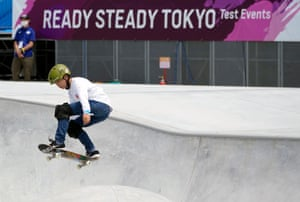 Japanese skater Taisei Kikuchi competes at a men's park skateboarding test event. The event was held without spectators.