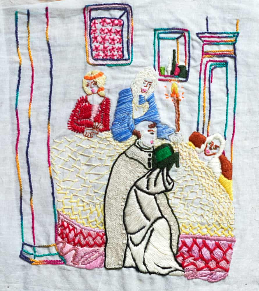 This embroidered 'final confession' is reminiscent of a deathbed scene from an old painting. Fauzia often copied elements of master paintings and added her own twists.