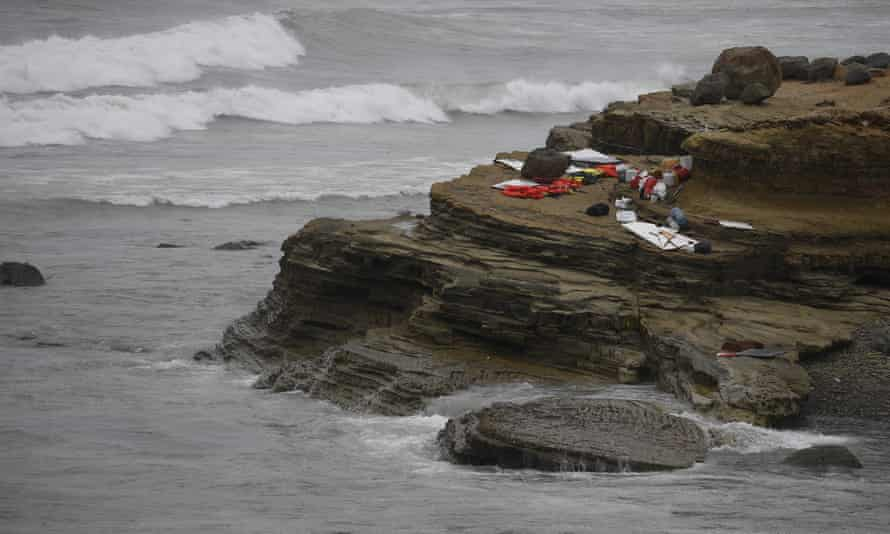 Items from a boat sit on the shoreline at Cabrillo National Monument.