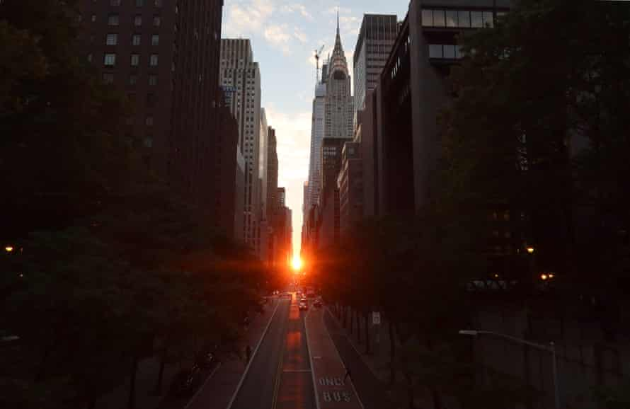 Another view of the sunset along 42nd Street, in 2020.