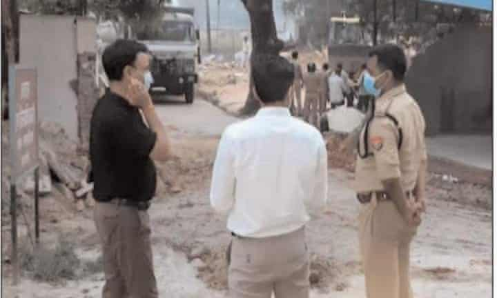 The scene after the demolition of the mosque