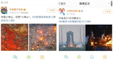 Two Chinese government official weiBer posts about the accounts of India's major backlash sparked by the weekend.