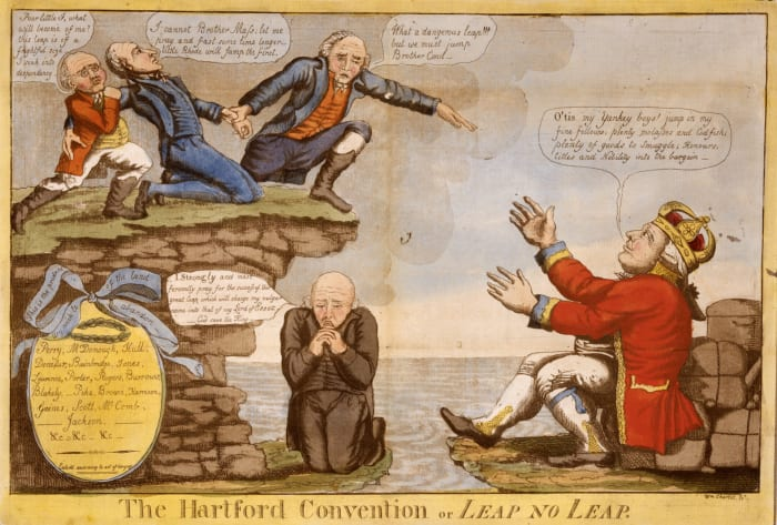 """""""The Hartford Convention or Leap No Leap,"""" by William Charles. Charles's satire attacks the Hartford Convention, a series of secret meetings of New England Federalists held in December 1814. The artist caricatures radical secessionist leader Timothy Pickering and lampoons the inclinations toward secession by convention members Rhode Island, Massachusetts, and Connecticut, alleging encouragement from English King George III."""
