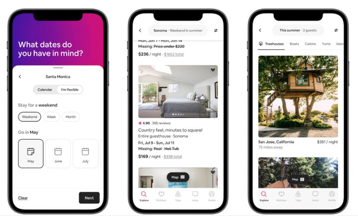 Airbnb on a smartphone.