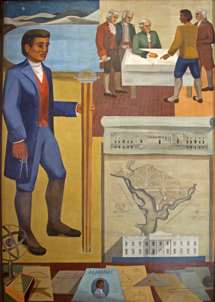 Fresco by Benjamin Banneker, surveyor, inventor and astronomer, mural painted by Maxime Seelbinder, at the Recorder of Deeds building, Washington, DC built in 1943.