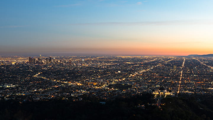 los angeles california cityscape at sunset